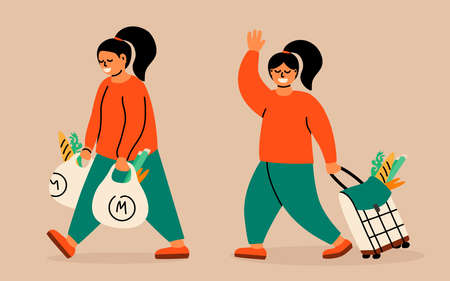 Women makes purchases. Buyer with plastic or textile bags in his hands. Woman with a shopping trolley bag.