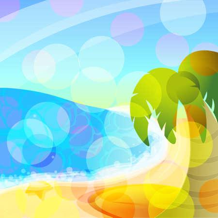 Vector sea and palm Banco de Imagens - 75993595
