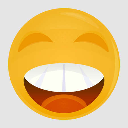 Smiling emoticon, emoji, smiley - vector illustration