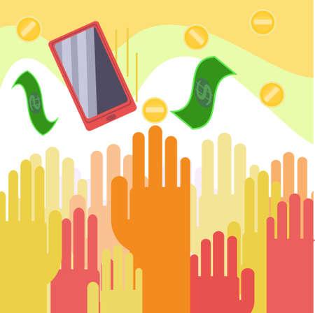 cash money: Vector people reaching for money