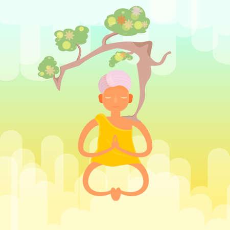 spiritual energy: Vector meditative monk with a tree Illustration