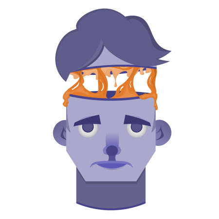 Illustration head in the slit Çizim