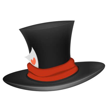 Black cylinder hat. Isolated on white background.
