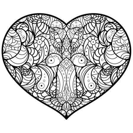 heart mandala oriental pattern vector illustration royalty free