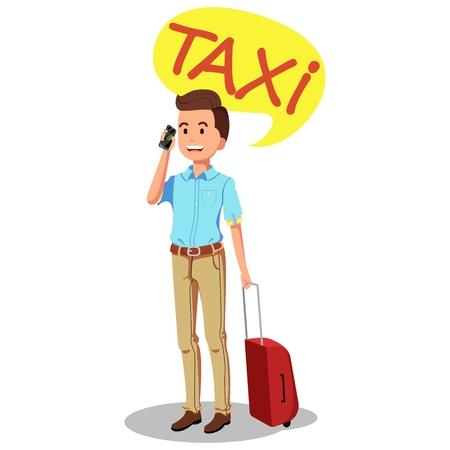 Un hombre pide un taxi por teléfono. Carácter vectorial sobre fondo blanco.