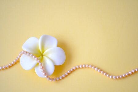 Horizontal background from beads from natural sea pink pearls and a white flower on a yellow background. Concept of celebration, spring, March 8th, Mother's Day, International Women's Day 免版税图像