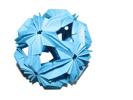 Isolated blue paper origami kusudama shape of sphere with shadow on white background