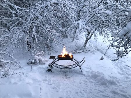 Barbecue in snowy forest in winter time