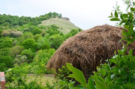 The roof of a hut covered with straw in the foreground. A green mountain in the background Фото со стока