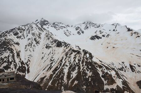 Mount Elbrus after the sandstorm. North Caucasus, Russia