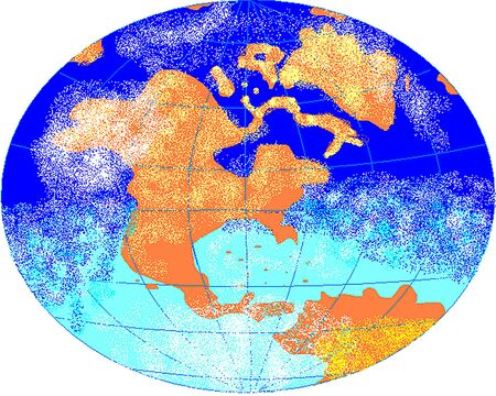 Sketch of the globe with markings of meridians and parallels and clouds. Our blue planet