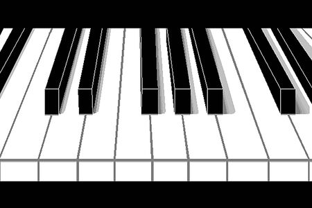 Isolated piano keys with shadows on black background, front view. Black and white keys in perspective Stockfoto