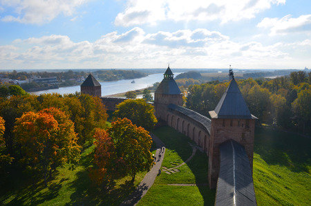 Top view from one of towers of the Kremlin in Veliky Novgorod at sunny autumn day, Russia