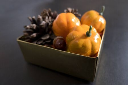 Autumn box: pumpkins, acorns and pine cones on a black background. Halloween and harvest concept. Stok Fotoğraf