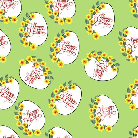 Decorative Easter eggs on a colored background pattern 免版税图像