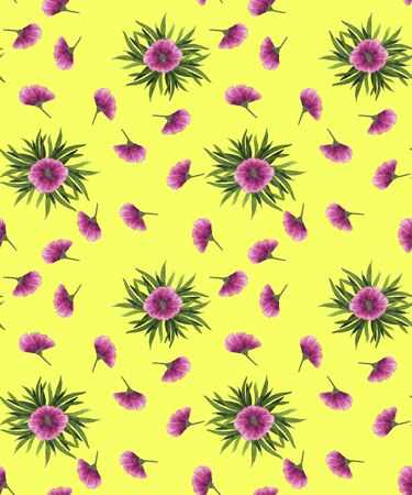 Seamless pattern with floral motifs on a yellow background