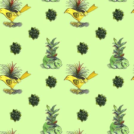 Pattern on a colored background with flower pots in the form of birds and hares