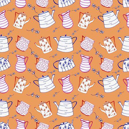 Stylized teapots on a colored pattern background Zdjęcie Seryjne