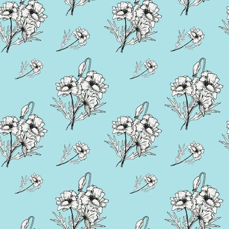 Graphic black and white poppies pattern on a colored background