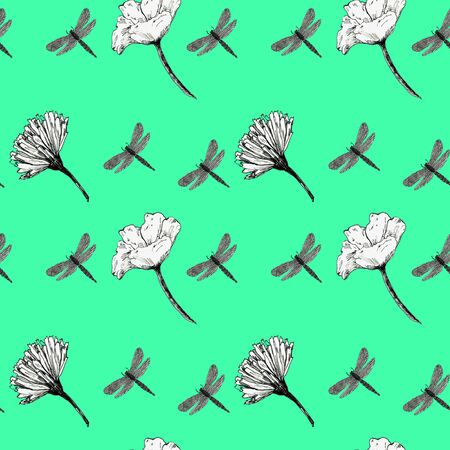 Graphic black and white flowers pattern on a colored background
