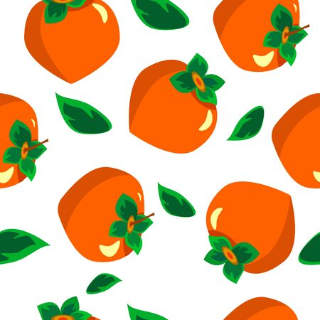 Pattern with persimmons and leaves. In flat style illustration. Stock Illustratie