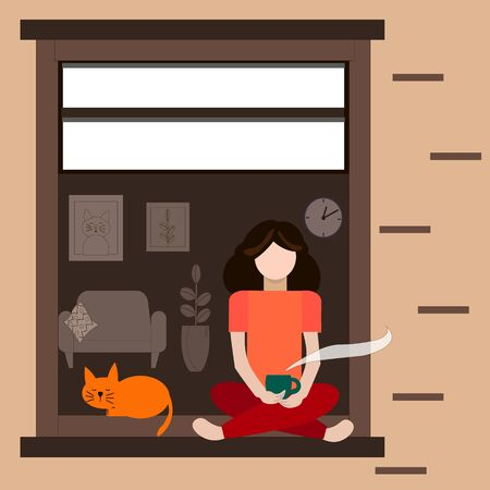 Stay home and have coffee. A girl has cattle at the window. Vector and illustration. Breakfast at home.