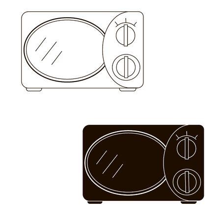 Microwave monohrome hand draw. Flat style vector illustration.