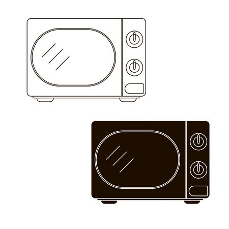 Microwave. Hand draw vector illustration isolated on white background