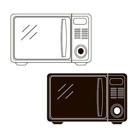 Microwave oven with timer, selection knob. Hand draw vector.