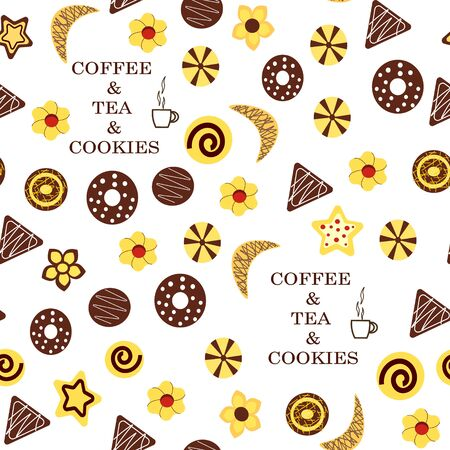 Cookies pattern wich text. Vector illustration on a white background.