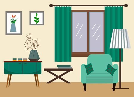 Living room with sofa, table, lamp, paintings, window. Vector illustration in a flat style.