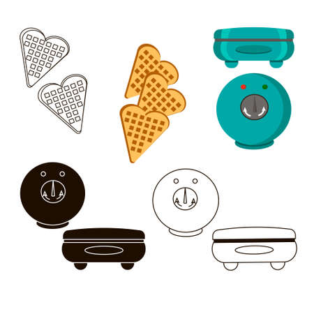 Waffle maker. Set of several illustrations on a white background.