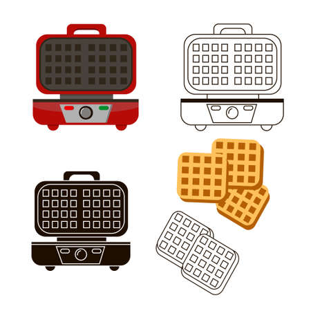 The red waffle iron is three types of illustration.