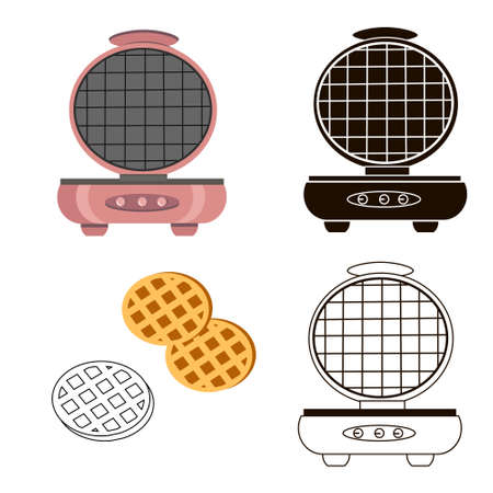 Waffle maker icon. Set of several illustrations on a white background.