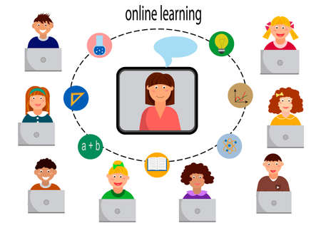 Multinational distance learning class for children. Learning online lessons. Çizim