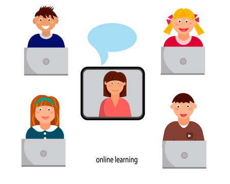 Online education for children, distance education, training and courses. Vector illustration. Çizim