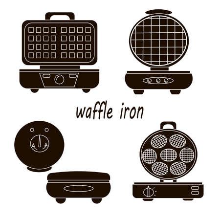 Waffle iron set. Illustration on a white background. Stockfoto