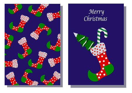 Christmas sock and walking stick with a Christmas tree. Set of two cards merry christmas template.