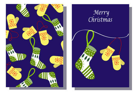 Christmas sock and mittens. Template set of two postcards. Illustration