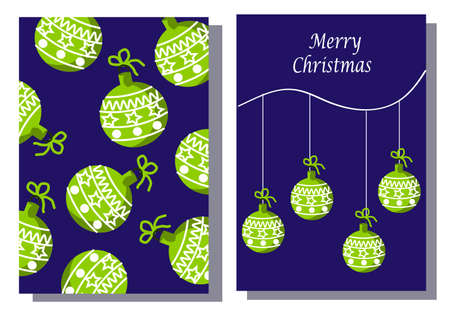 Template set of two cards Merry Christmas and Happy New Year. Christmas balls. Banque d'images - 152874481