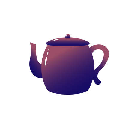 The violet teapot is home appliances. For icons or logos.