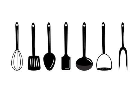 Monochrome set of various kitchen tools. Vector illustration.