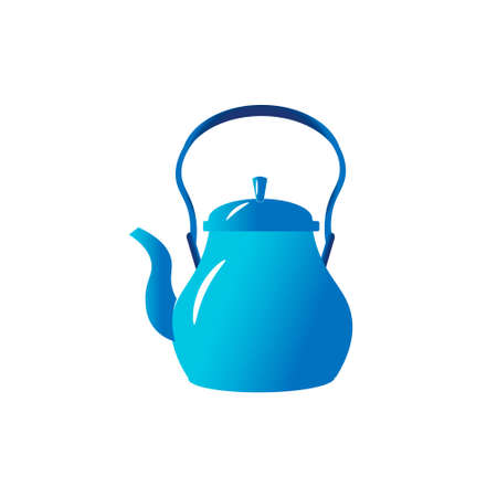 The blu teapot is for the kitchen. Vector illustration isolated on white background.
