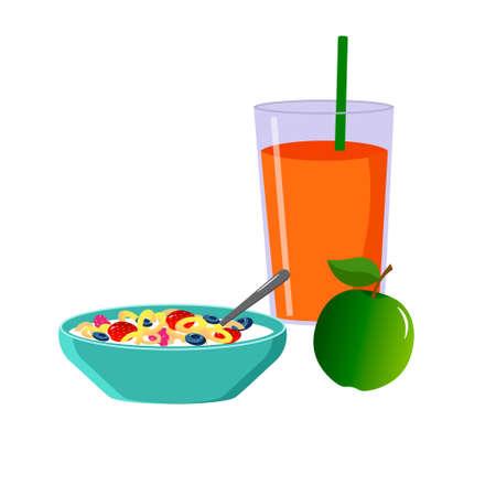 Healthy breakfast. Muesli with milk and berries.