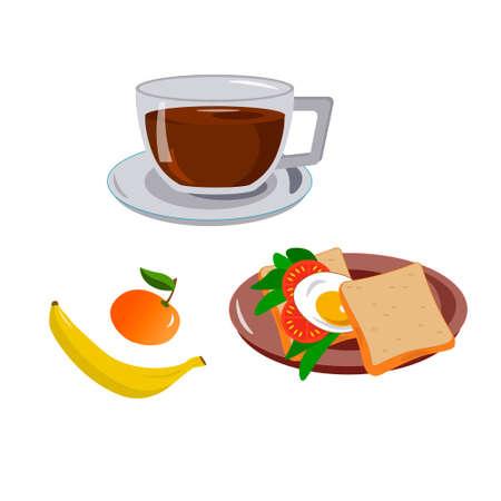 Healthy breakfast. Sandwich with egg and coffee, banana and orange. Vektoros illusztráció