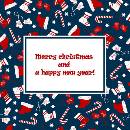 . Postcard with attributes of the holiday. Merry Christmas and Happy New Year.
