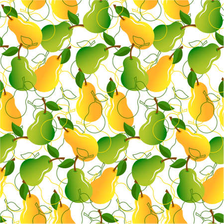 Pattern with green and yellow pears. Fresh fruits.