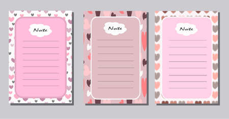 A set of templates for planning, writing notes. Romantic collection with hearts.