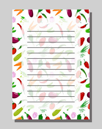 Blank with assorted fresh fruits. Template for writing recipes. Ilustracje wektorowe