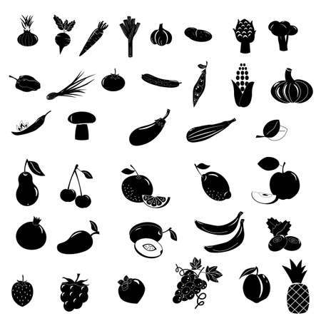 Set of icons with different fruits.